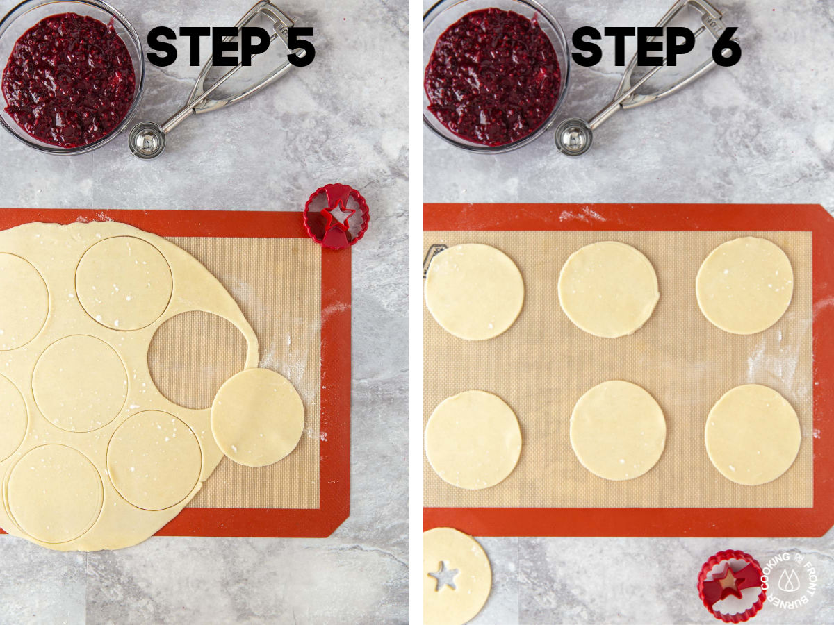 "pie crust on a silpat mat with 3 1/2"" circles cut out of it (6 circles total)"