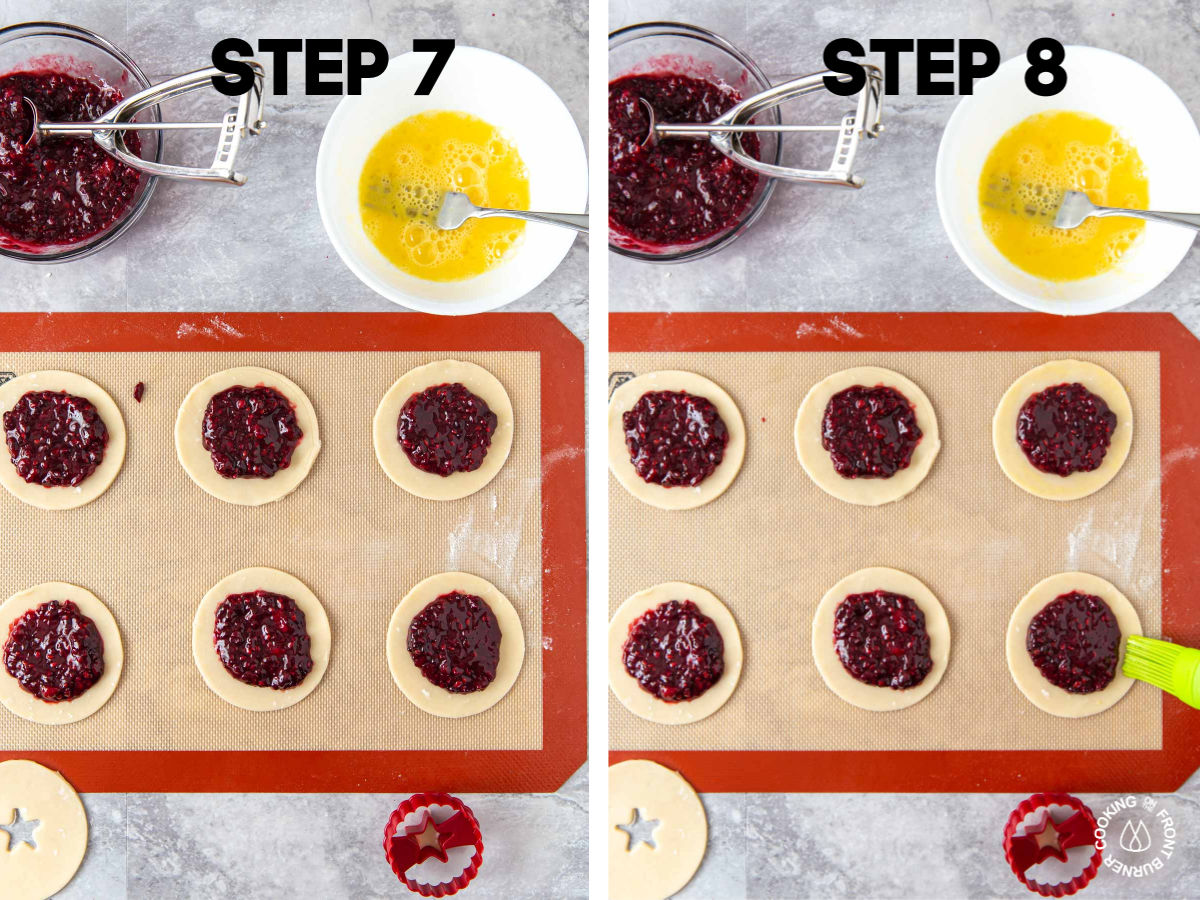 small pie circles on a cookie sheet with blackberry filling in the center; brushing an egg wash around the outer edges