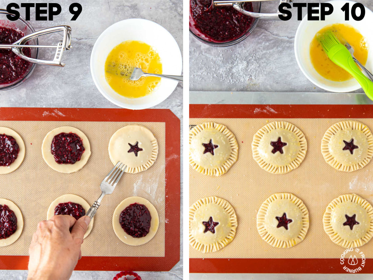 small pie circles on cookie sheet with blackberry filling with a top crust on and crimping edges with a fork