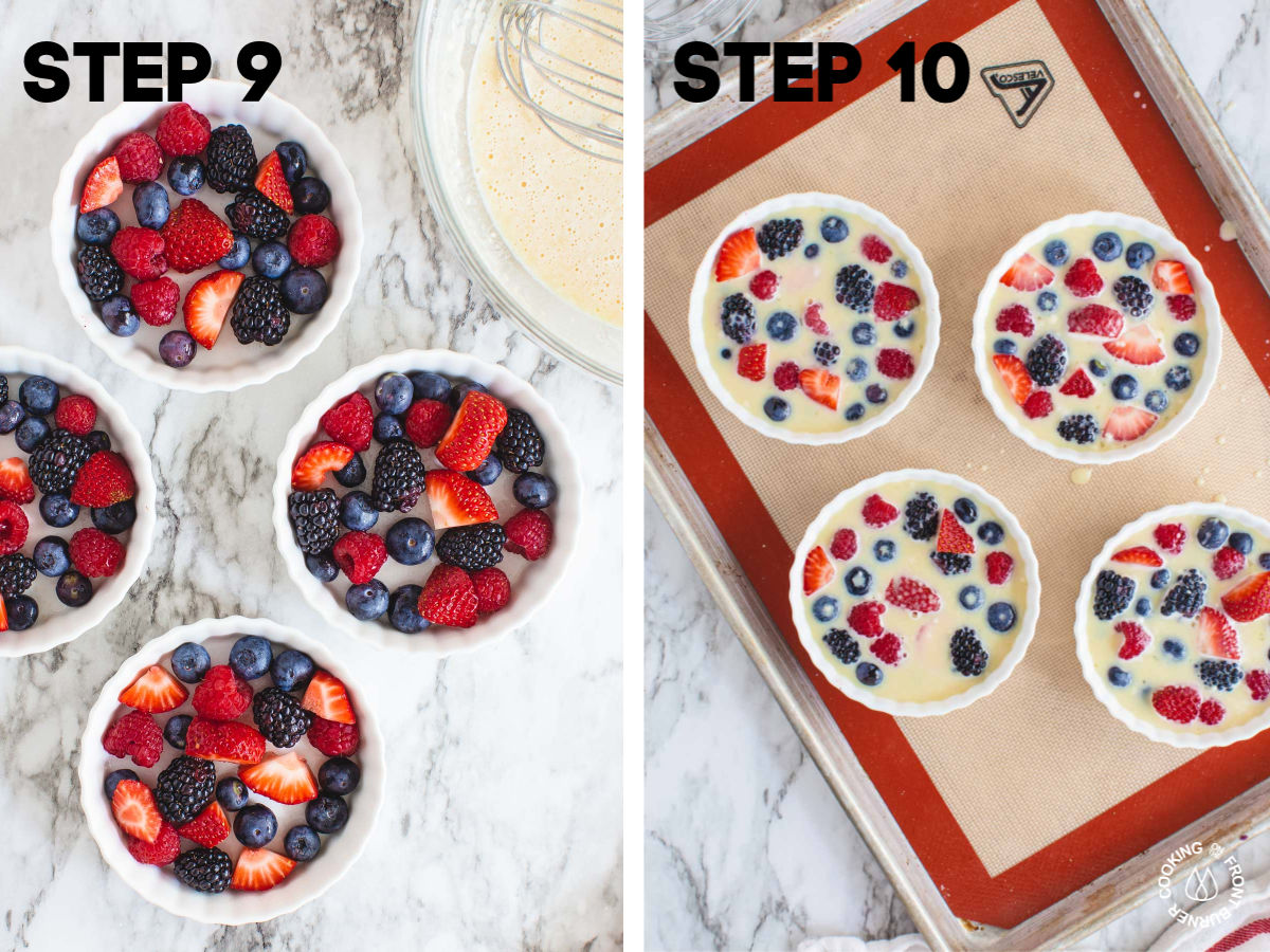 placing berries in ramekins and pouring batter over them