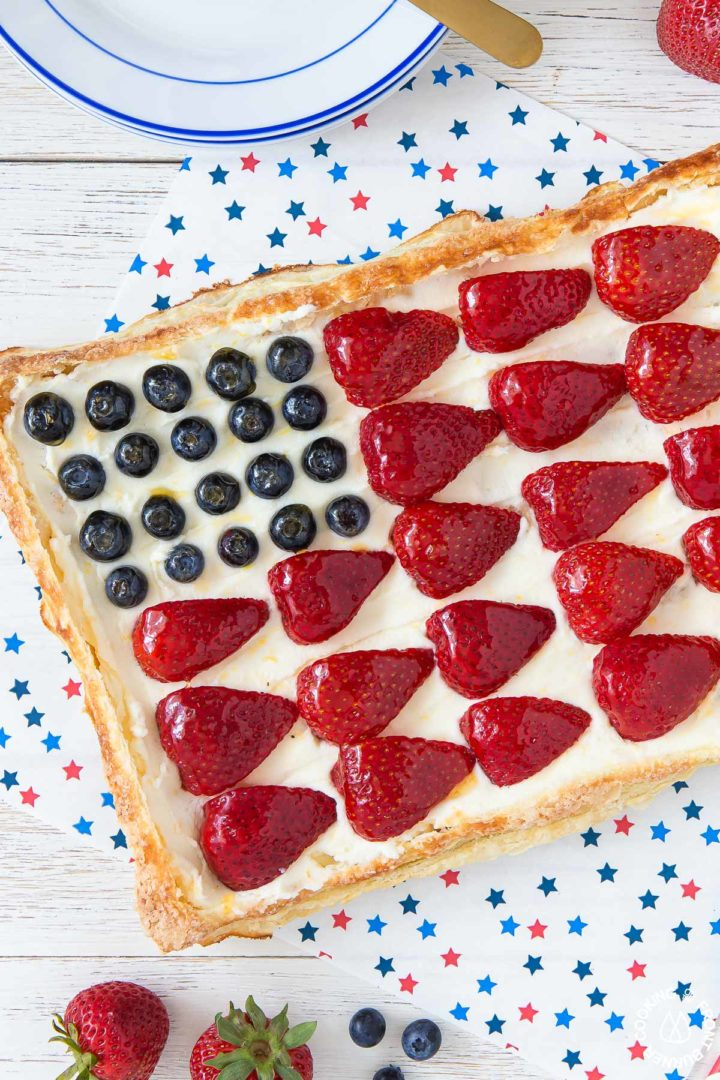 a finished tart in the shape of an american flog