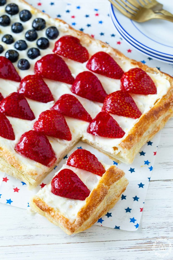 a american flag tart with a piece cut out