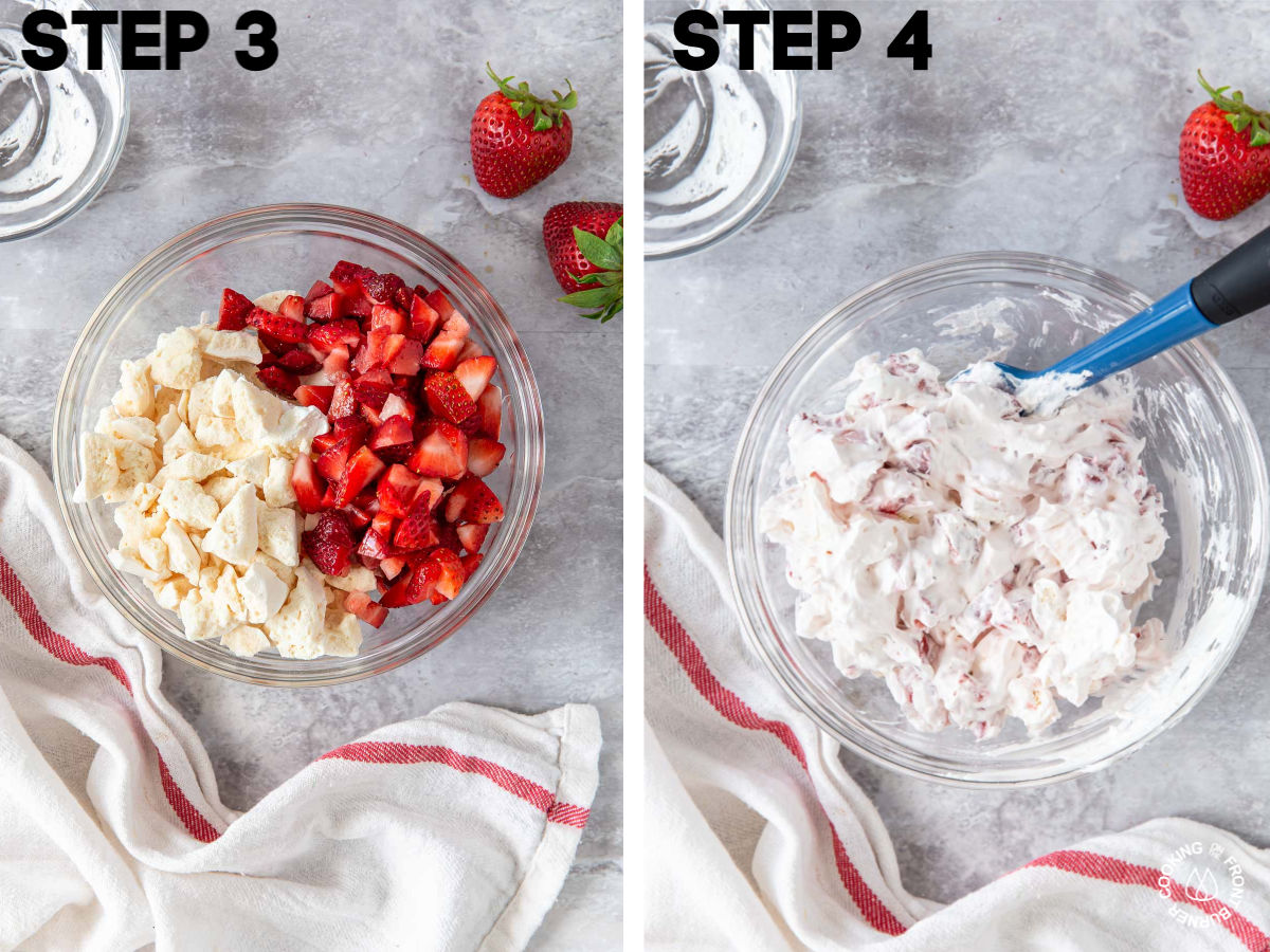 a bowl with cool whip, meringue cookies and fresh chopped strawberries
