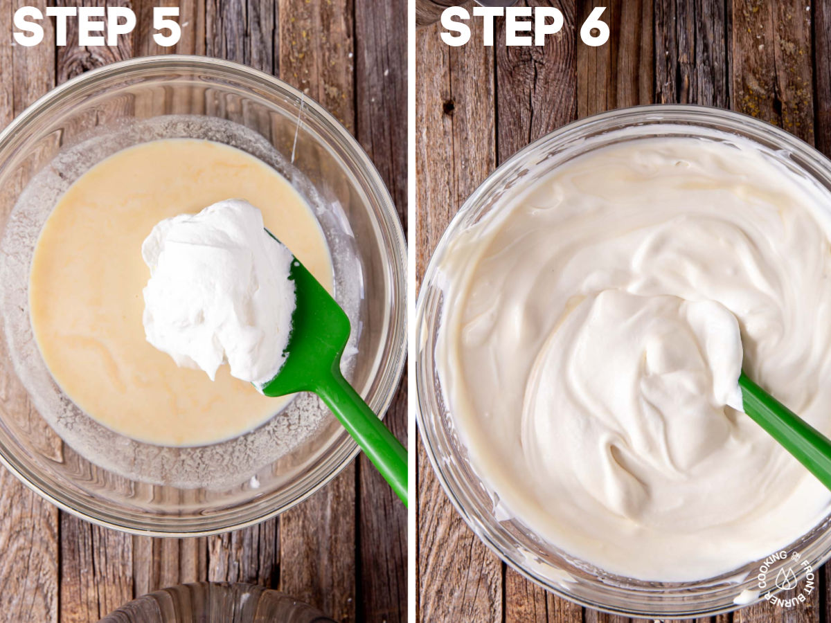 a sweetened condensed mixture in a bowl and folding in with a spoon some whipped cream