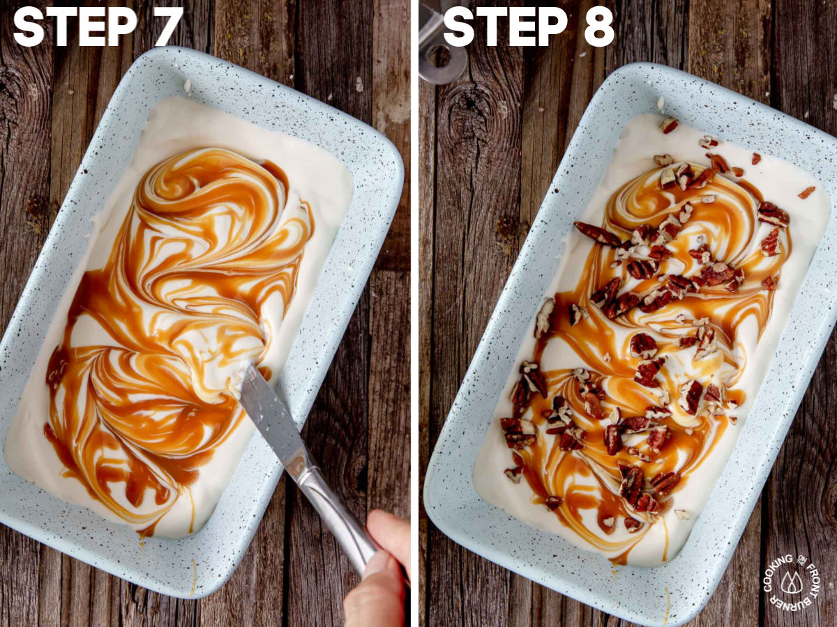 layering ice cream mixture in a loaf pan and swirling in pecans and caramel sauce