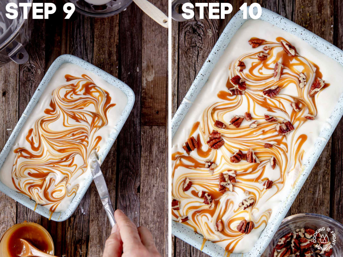 layering ice cream mixture in a loaf pan topped with caramel sauce and pecans