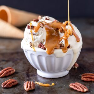 No-Churn Bourbon Pecan Caramel Ice Cream