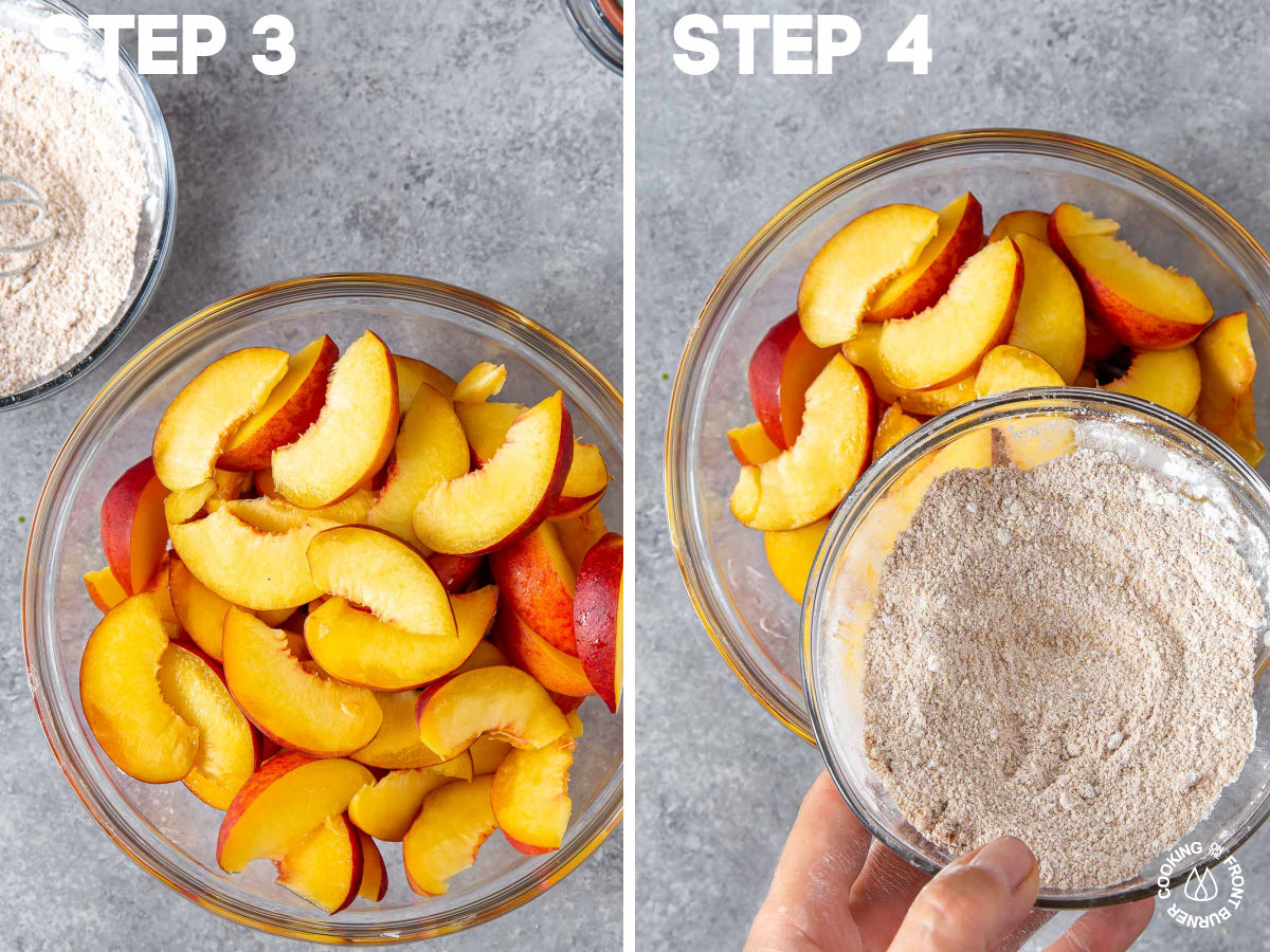 a bowl with fresh sliced peaches and adding a brown sugar mixture