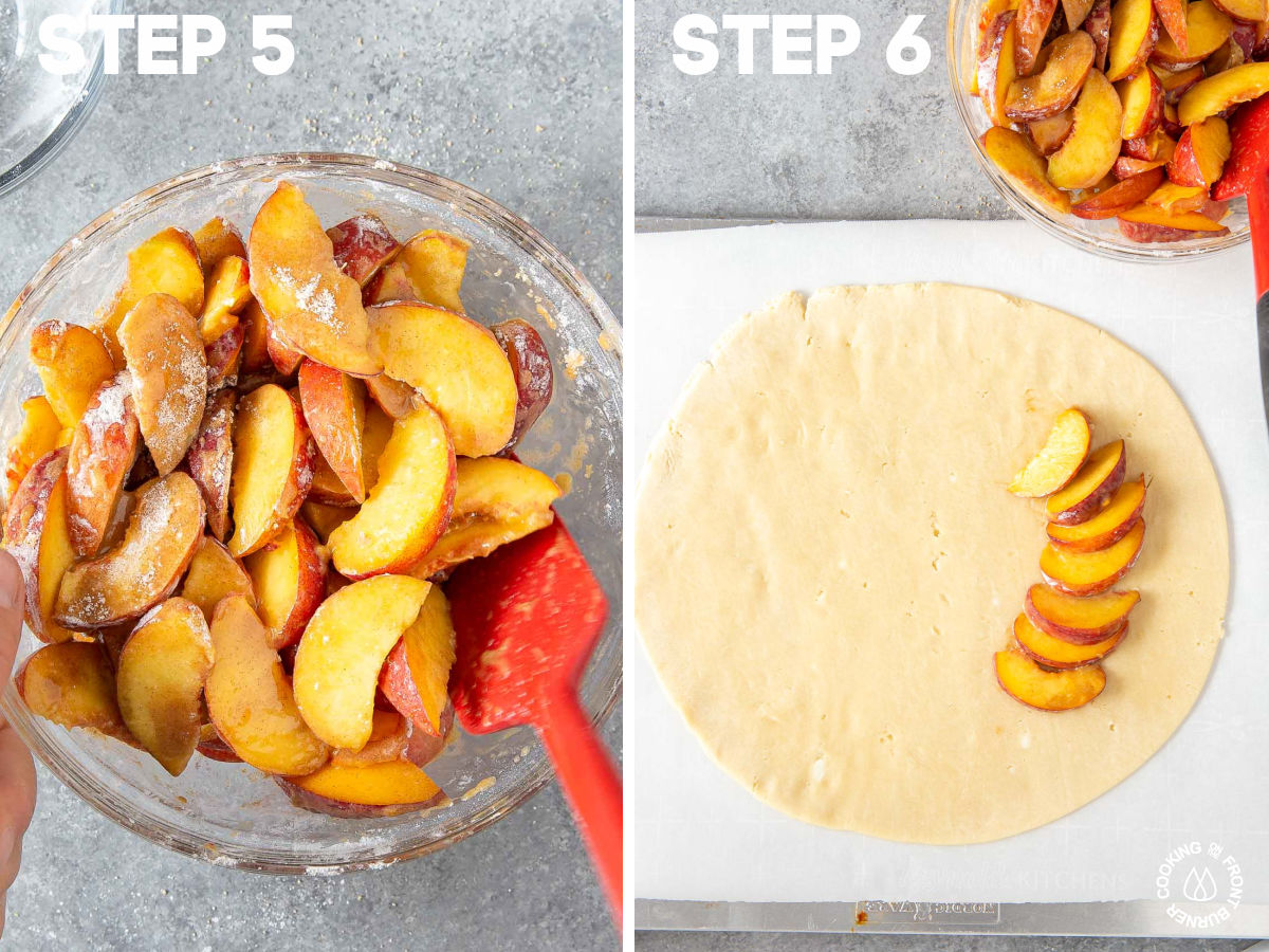 peaches tossed with a brown sugar mixture