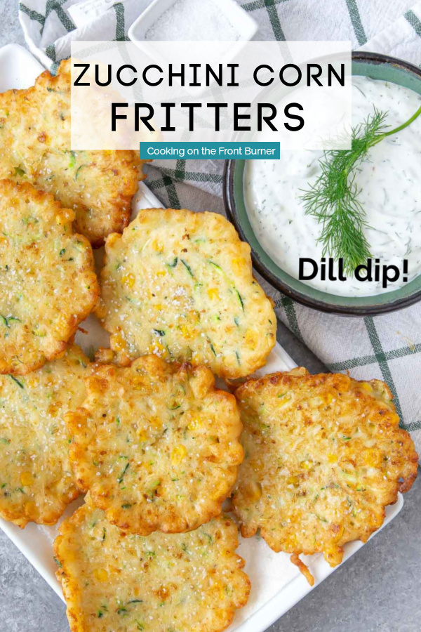 a pinning image for pinterest of a zucchini corn fritters