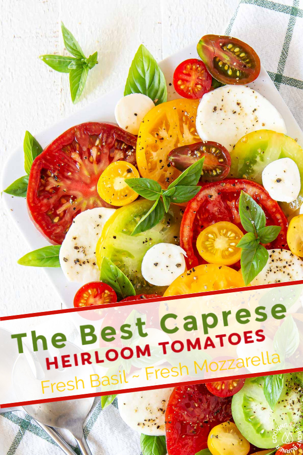 a pinterst pin with caprese salad