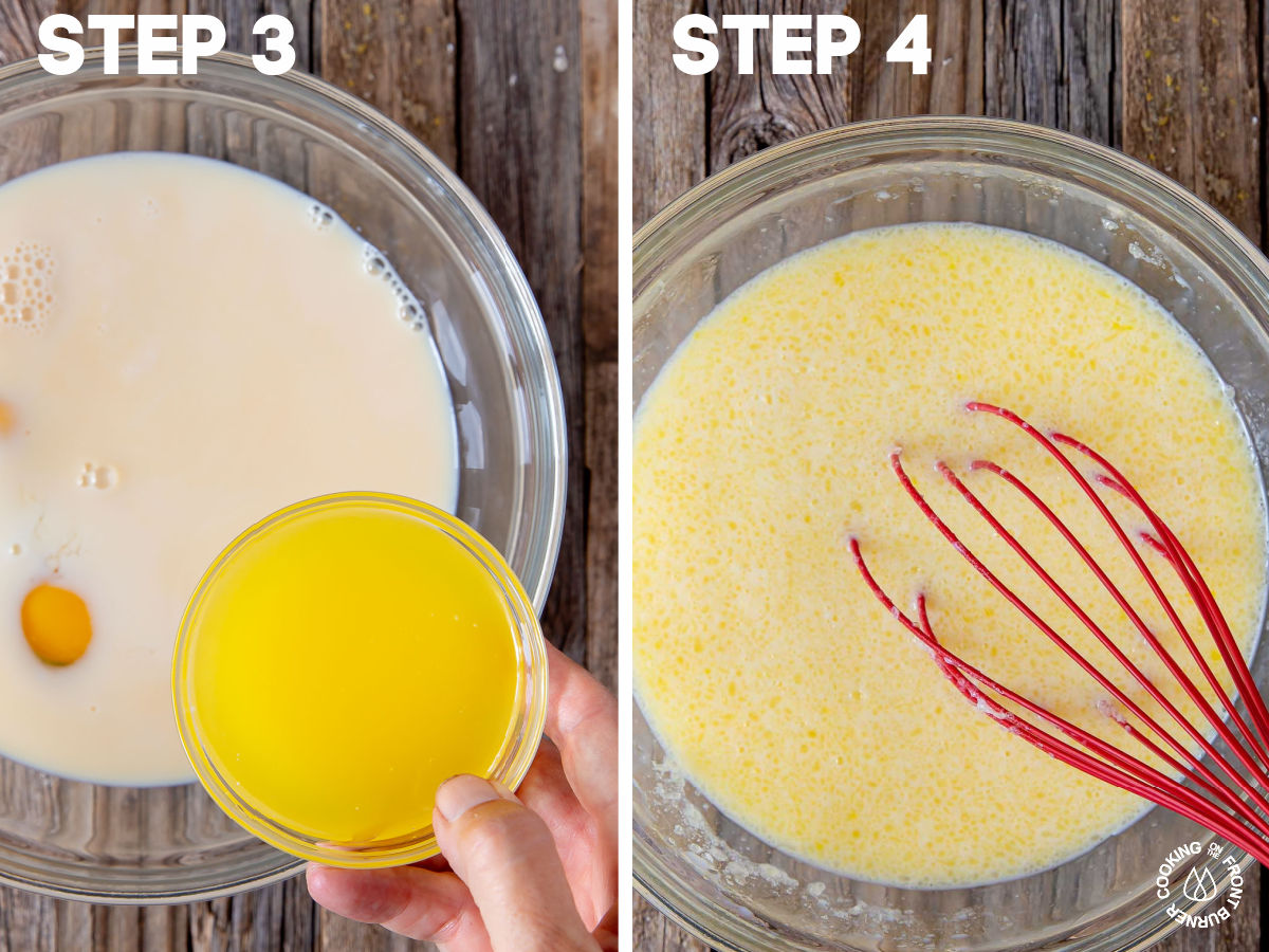 a bowl with eggs, milk, vanilla extract and melted butter being whisked