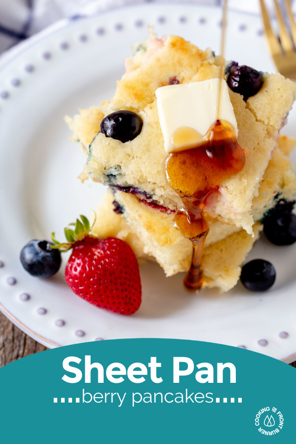 a pinterest pin of a sheet pan pancake