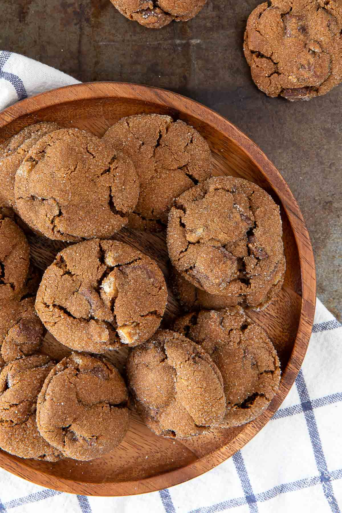 a plate with triple ginger chocolate cookies