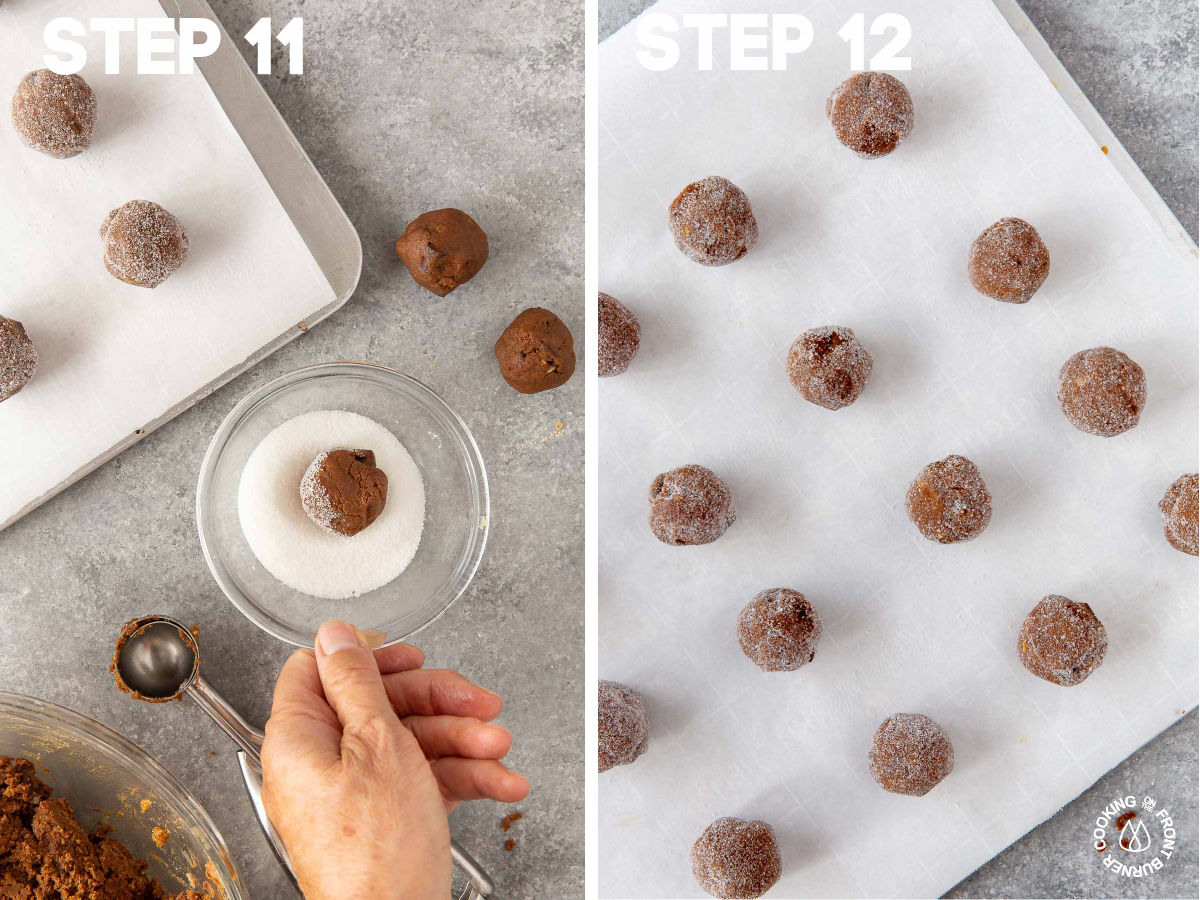 rolling dough into walnut size balls and placing in suar; then putting on cookie sheet