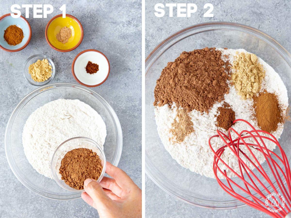 a bowl with flour, cinnamon, nutmeg, cloves, cocoa powder