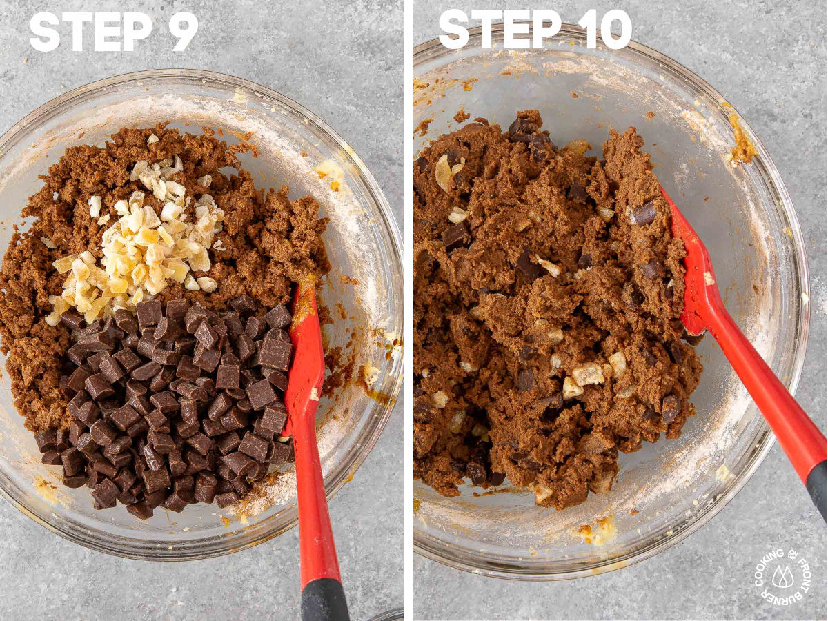adding chocolate chunks and crystal ginger to molasses butter mixture