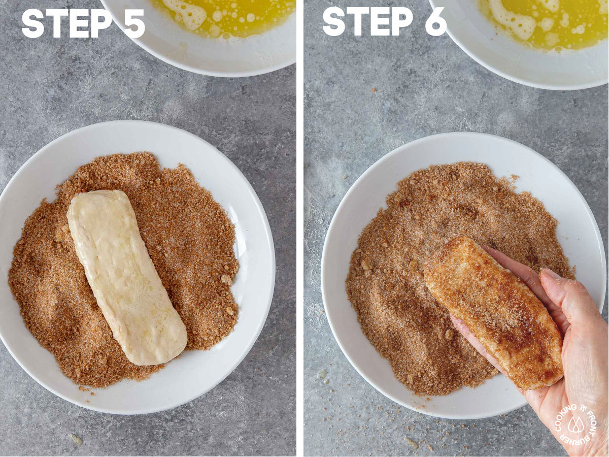 dipped rectangle biscuits in a cinnamon sugar mixture