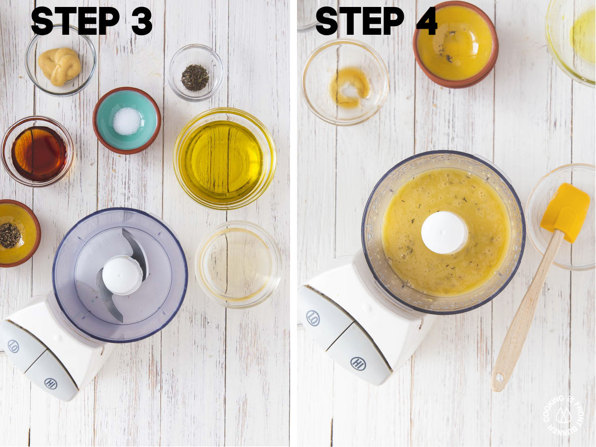 a food processor with oilve oil, salt, pepper, thyme, dijon mustard and vinegar in bowls
