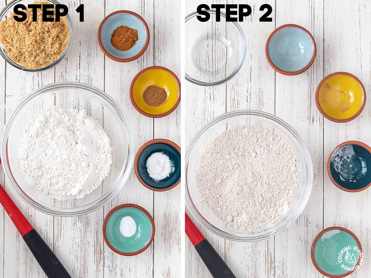 combining cake flour, brown sugar, cinnamon, nutmeg, baking soda, baking powder in a bowl