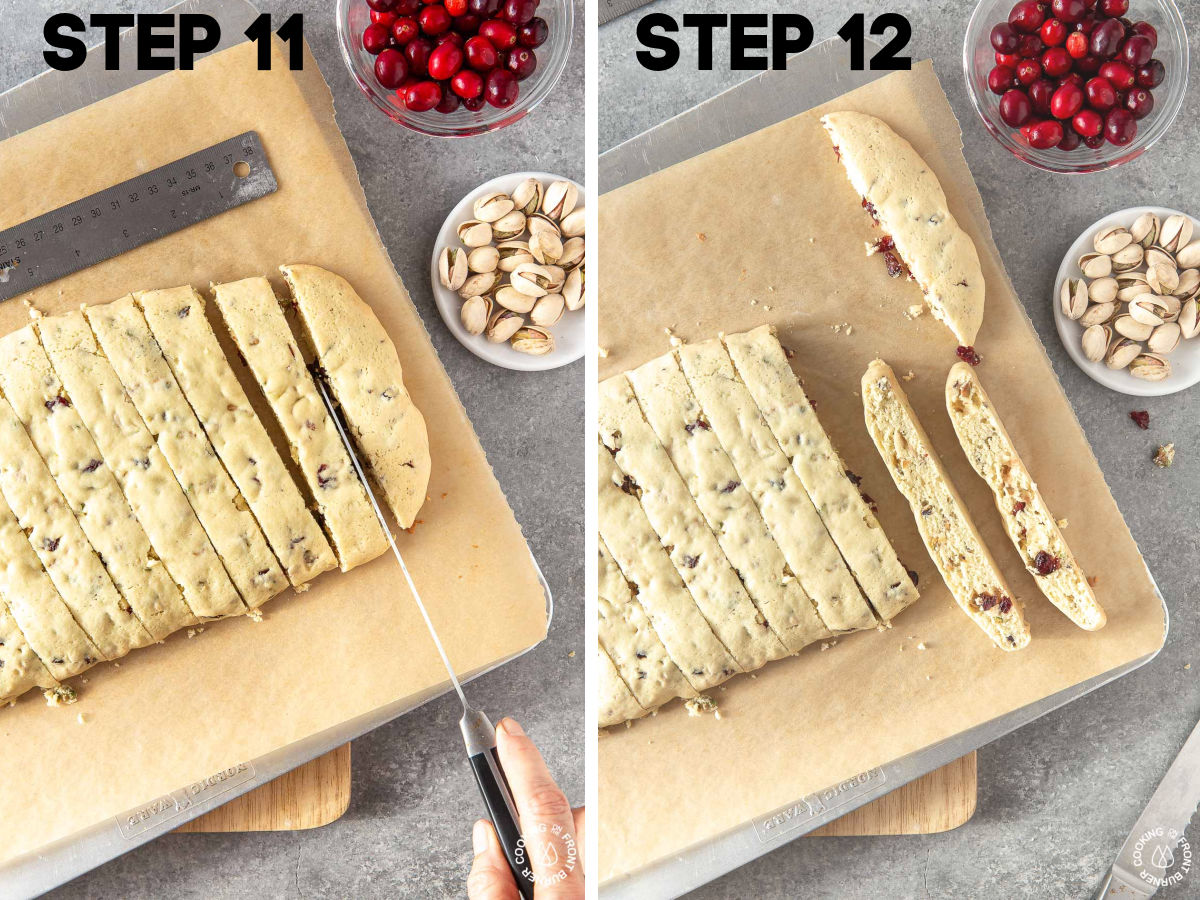 slicing biscotti on a cookie sheet