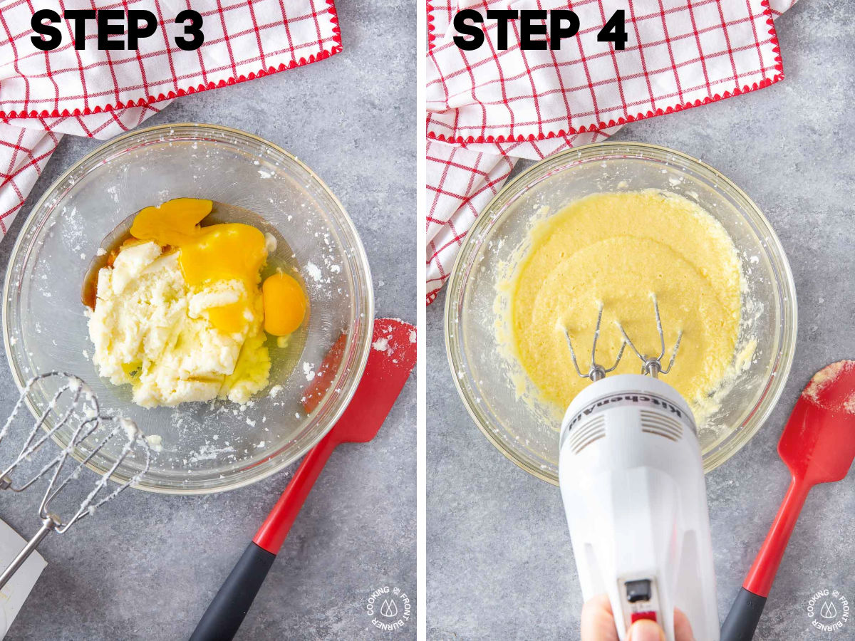 raw eggs in a sugar butter mixture in a bowl and beating with a hand mixer