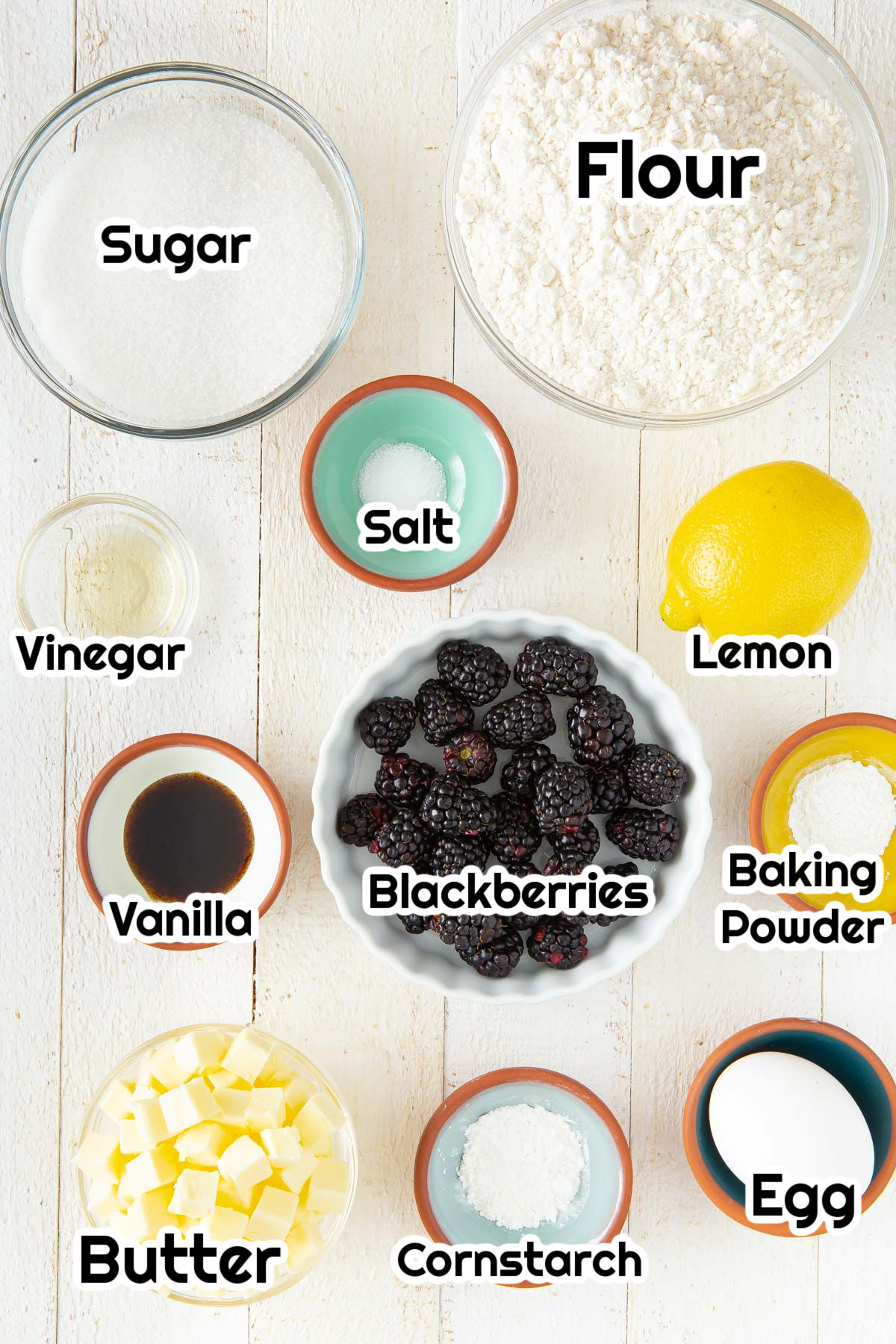 ingredients for blackberry crumble