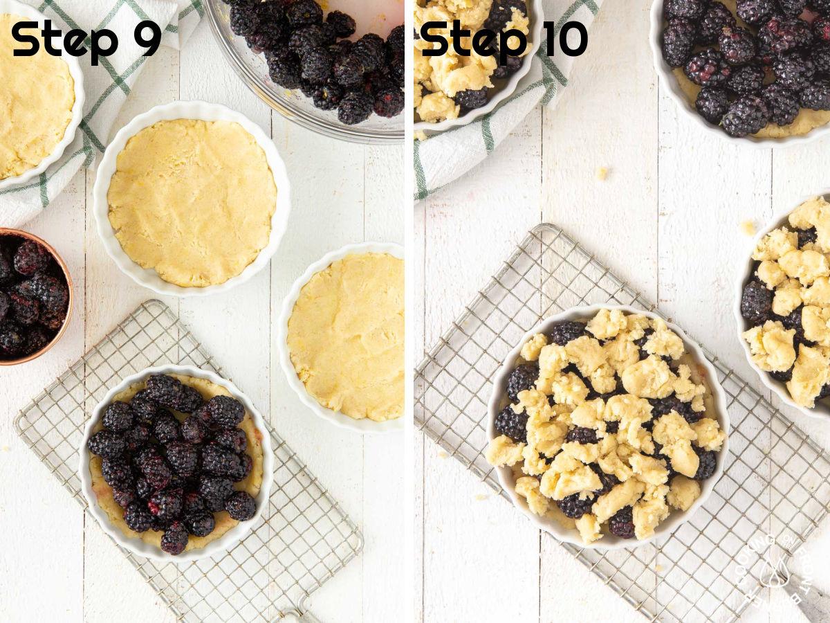 pressing dough in tart pans, adding blackberries