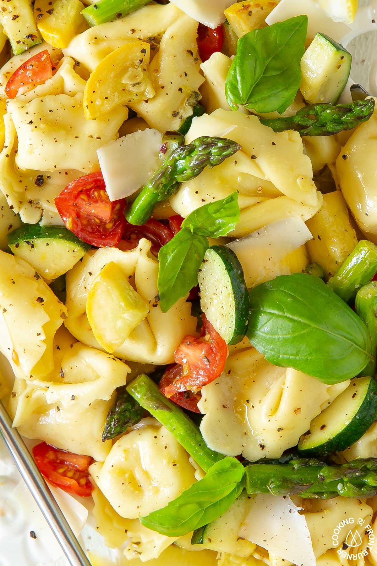lemon tortellini and veggie salad - close up