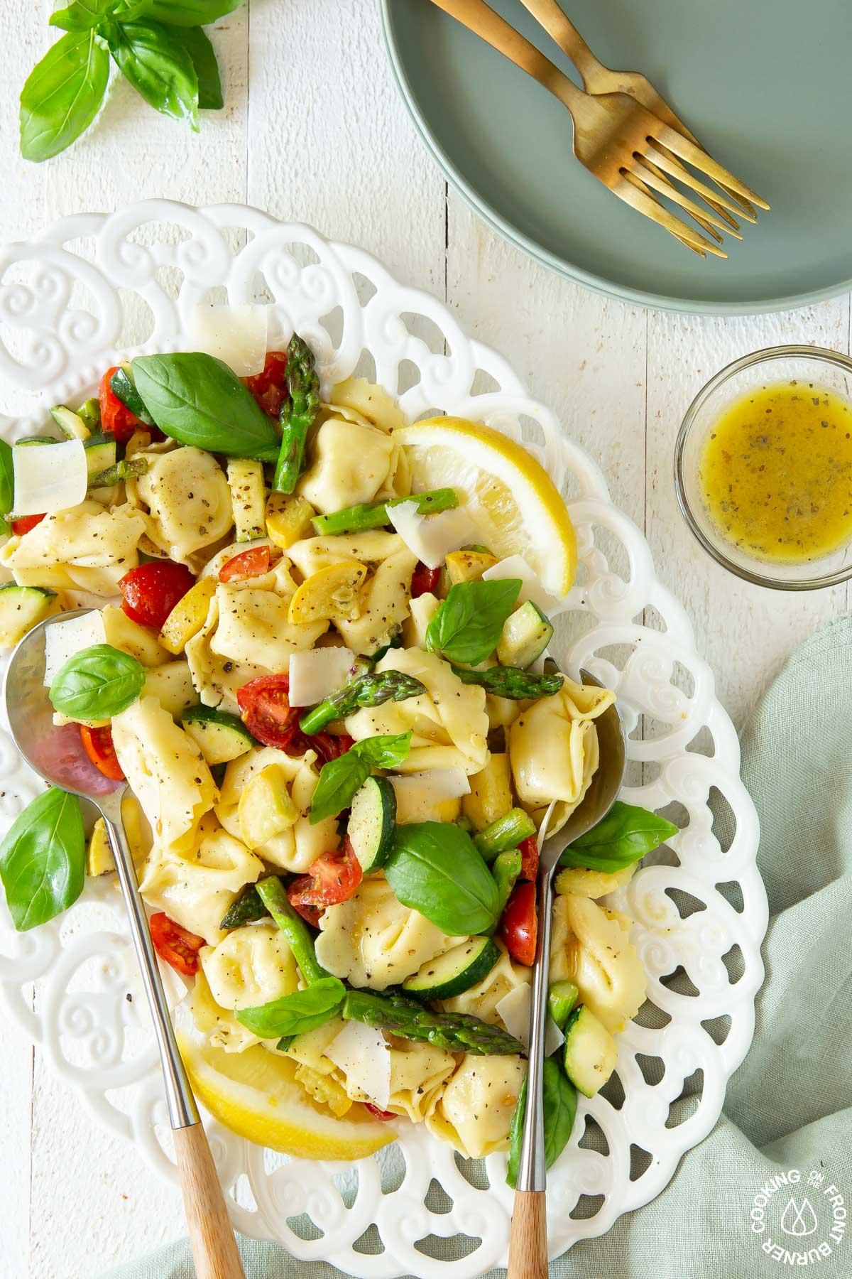 plate with tortellini salad