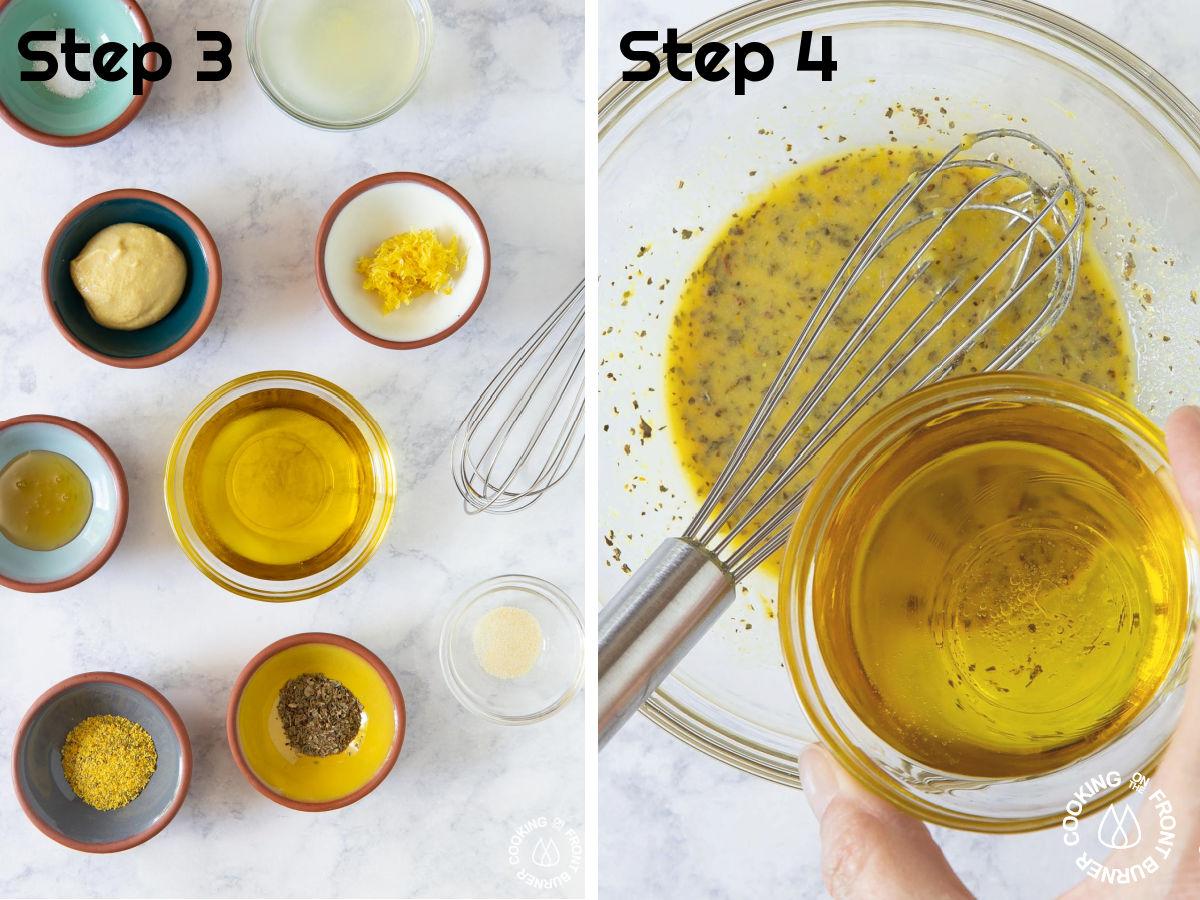 ingredients for lemon vinaigrette in bowls