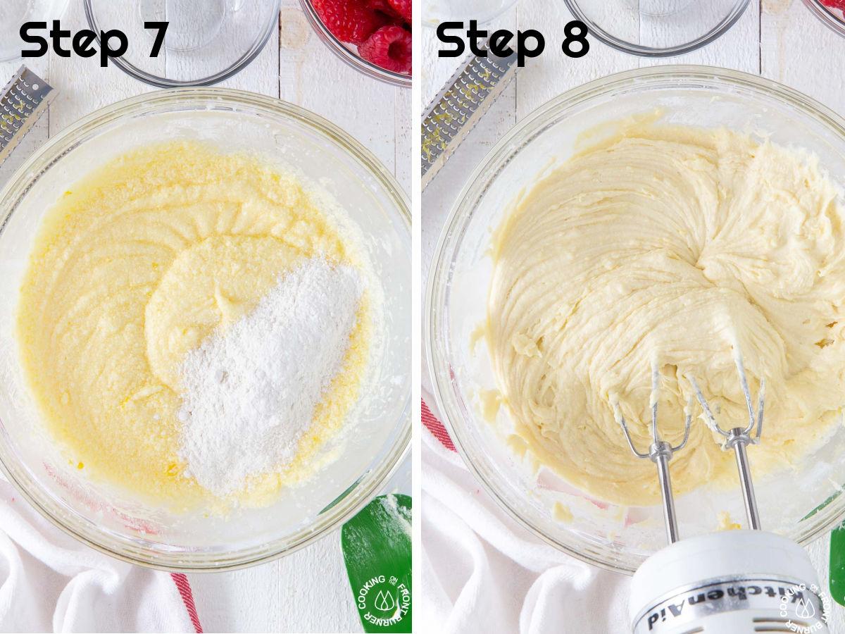 adding flour to cake batter