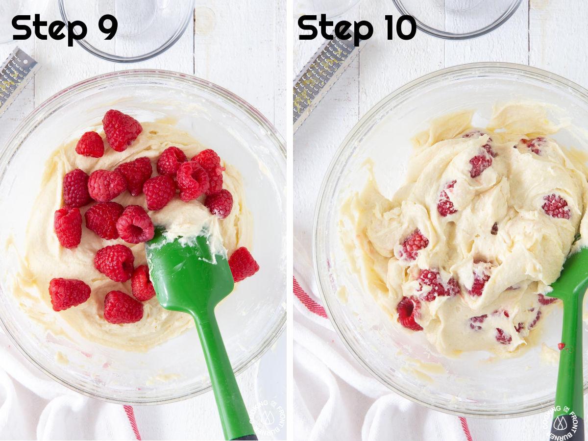folding fresh raspberries into cake batter