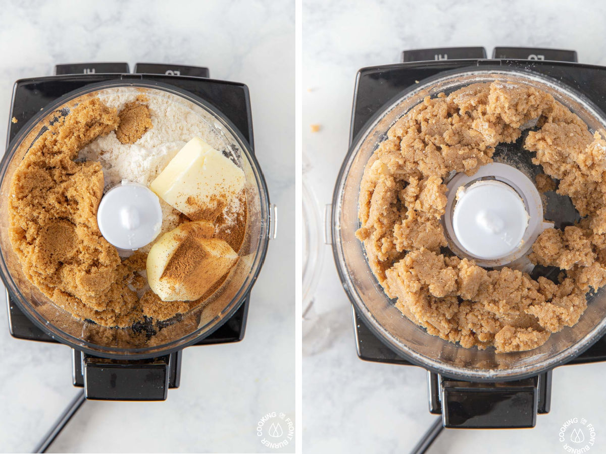 small food processor with butter flour brown sugar
